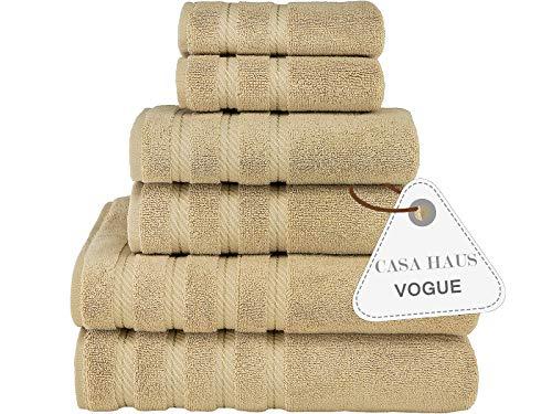 Casa Haus Mode Sammlung -Zero Twist, Air Soft, 6-teiliges Handtuchset, 2 Badetücher, Handtücher 2, 2 Waschlappen, maschinenwaschbar, Hotelqualität, Handtuchgeschenkset - (beige)