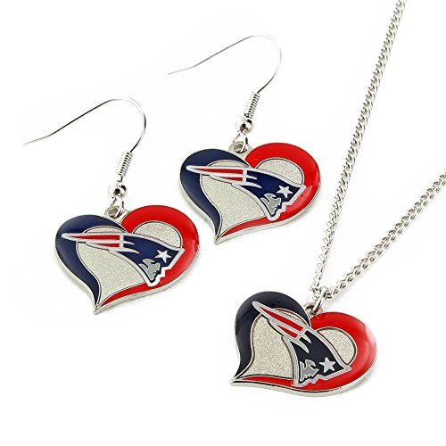 NFL New England Patriots Swirl Heart Earrings & Pendant Set
