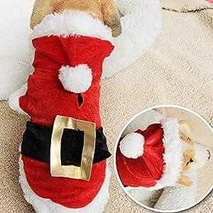 YOUNICER Pet Cat Dog Clothes Costume De Père Noël Costume À Capuche Velours Manteau Combinaison Petit Chien Vêtements 4 Tailles