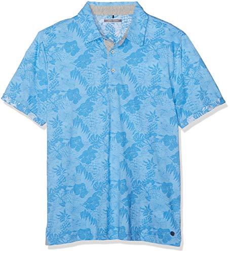Pierre Cardin Herren Jersey Palmen Print Denim Academy Poloshirt, Blau (Diving 3760), Small