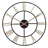 20' Black and Gold Metal Cut Out Roman Numeral Wall Clock