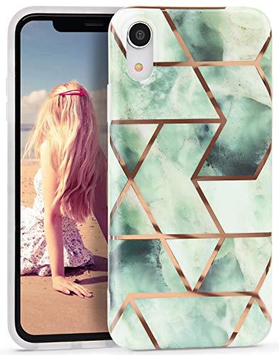 Imikoko Hülle für iPhone XR Glitter Bling Rosegold Handyhülle (Grün)