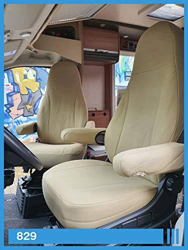 Maß Sitzbezüge kompatibel mit Wohnmobil Fahrer & Beifahrer Farbnummer: 829 (beige beige)