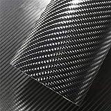IlMondoMall 4D カーボンシート ラッピングシート ブラック リサイズ版 (148×300cm, 黒)