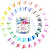 EAONE 100Pcs Butterfly Hair Clips Pastel Hair Clips Mini Cute Clips Hair Accessories for Hair 90s Girls Women with Box Package, Gradient Tansparency Colors