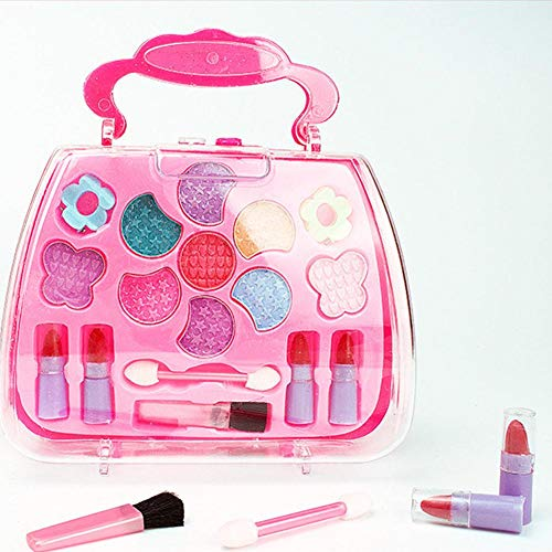 heling896 Mädchen Make Up Kit Kosmetik für Kinder Prinzessin Makeup Box Trolley Form Lidschatten...