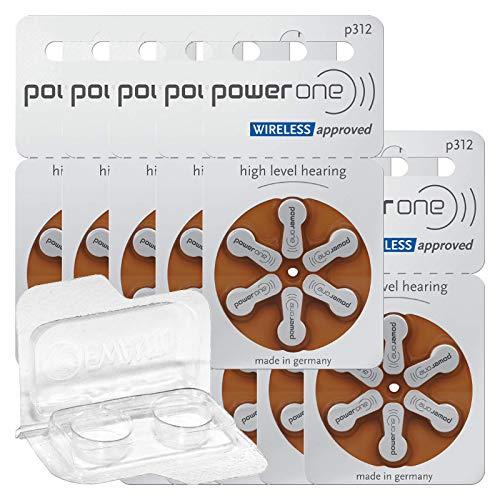 60x Varta Power One 312 Hörgerätebatterien 10x6er Blister PR41 Braun 24607 + Aufbewahrungsbox für 2 Hörgerätebatterien (10, 13, 312, 675), Batteriebox für 2 Knopfzellen bis 12 mm x 6 mm (Ø x H)