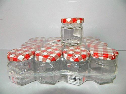 12 bocaux 45ml en verre Hexagonal pour conservation de confiture Couvercles rouges à carreaux