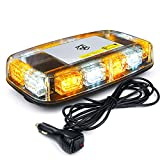 [Upgraded] Xprite 12' Roof Top Mini Strobe Light Bar Magnetic Mount Emergency Safety Warning Caution Flashing Beacon Lights for Construction Vehicles Snow Plow Trucks Postal Mail Cars (White Amber)