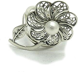 Anello da donna in Argento 925 Fiore con 8mm perla misura regolabile R001456