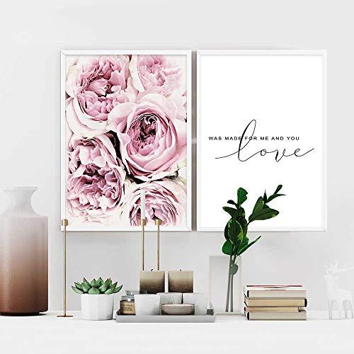 2 Piezas Posters Flor Rosa Citas de Amor Cuadros Blanco y Negro Decoracion Lienzo Decorativo pared Dormitorio Laminas Impresion Fotografica PTGL001-L