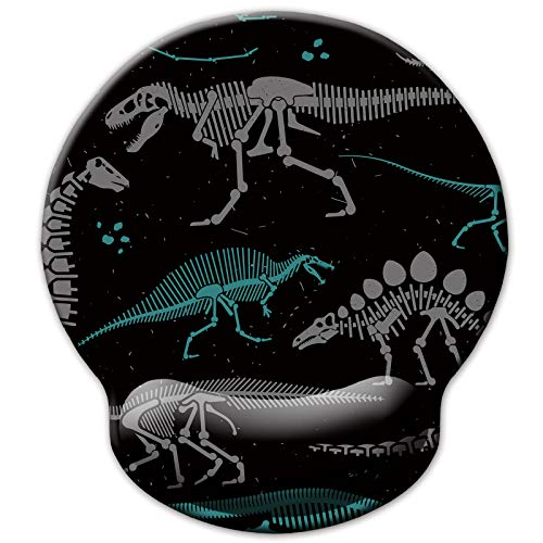 Ergonomic Mouse Pad with Wrist Support Rest, Cute Cool Dinosaur Skeleton Gaming Mouse Mat for Men Women Kids Boys Girls, Foam Cushion Pain Relief Mousepad for Desk Laptop Computer Home Office Working