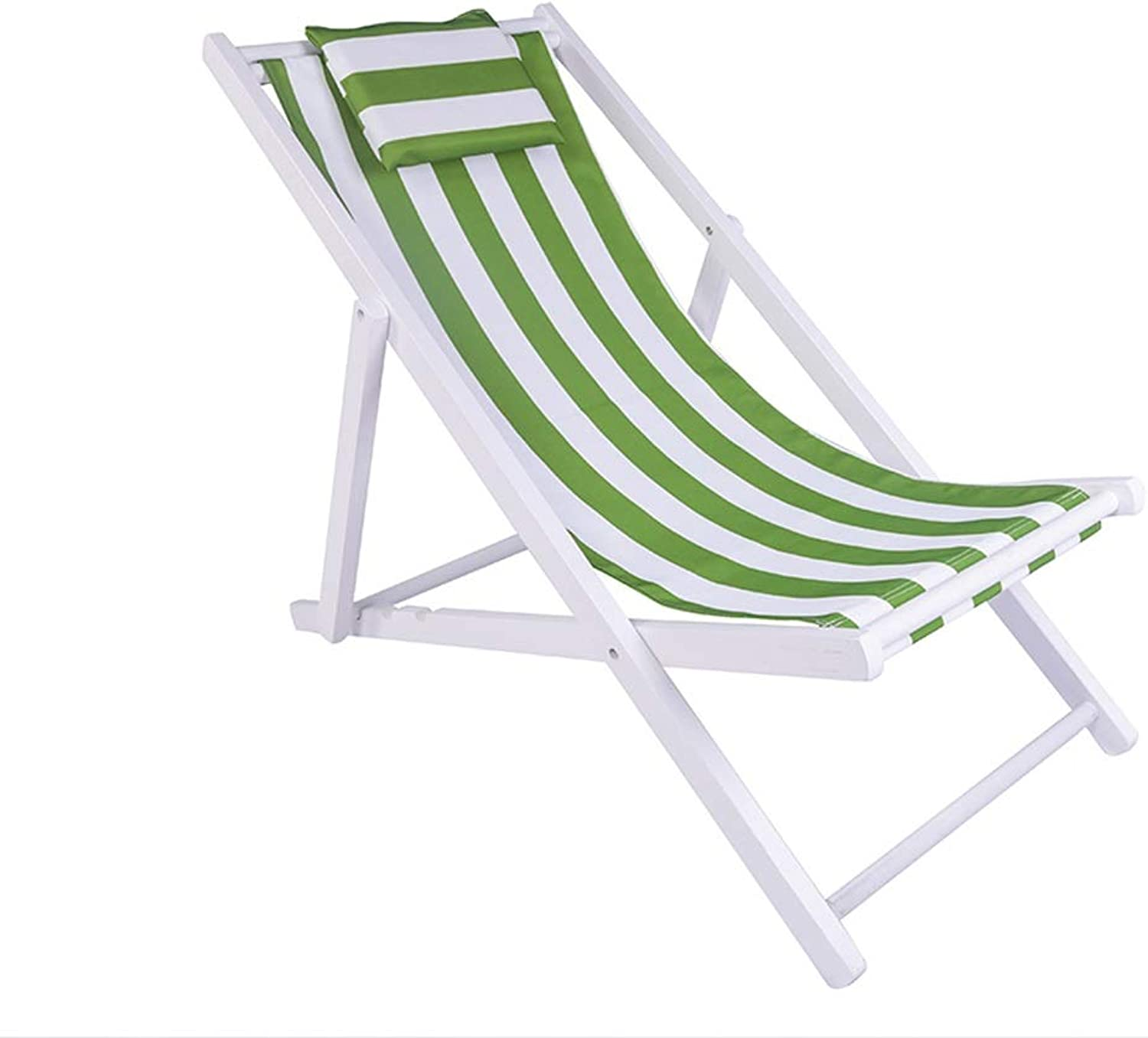 Portable Beach Chair Foldable Wood Recliner Outdoor Canvas Camping Chair