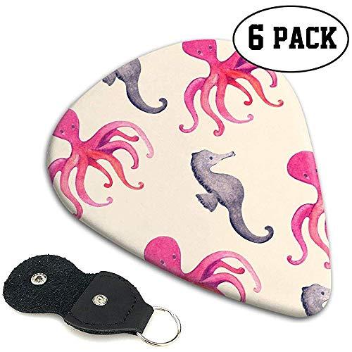 Gitaar Plectrum, Kleurrijke Cartoon Octopus Zee Paard Gitaar Pick Plectrum, Premium Gitaar Picks Voor Muziek Liefhebbers Party,6 Pack