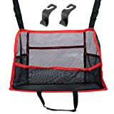Travel Tidy Car Net Pocket Hand Bag Holder For Car - Large Car Mesh Organizer And Purse Holder For Car Front Seat - Car Net Pocket Handbag Holder Between Seats - Safety Barrier - Car Hooks (Red Trim)