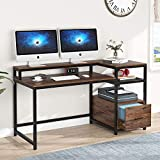 TIYASE Computer Desk with Hutch and Storage Shelves, 59 inch Large Rustic Home Office Desk Computer Table Study Writing Desk Workstation with File Drawer and Monitor Shelf (Vintage Brown)