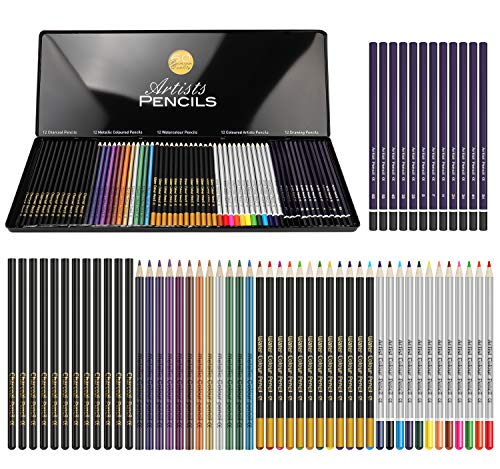 Art drawing pencils set 60 Pieces include Coloured Sketch Watercolour Charcoal Graphite Pencil,For...