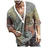 Dasongff Camisa de hombre de manga 3/4, para el tiempo libre, cuello alto, verano, vintage, estampado Henley, camisa con cordones, corte regular, camisa informal y ligera para hombre