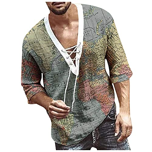 Men's V Neck T Shirts Half Sleeve Chest Lace up Summer Casual Fashion Short Sleeve Hipster Shirt Hawaiian Relaxed Fit Floral Printed Trendy T-Shirt Top