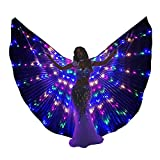 SHINYOU LED Isis Wings Glow Light Up Belly Dance Costumes with Sticks Performance Clothing Carnival Halloween(Multicolor)