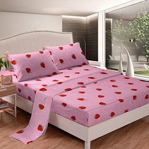Strawberry Bed Sheets Kids Girls Tropical Fruit...