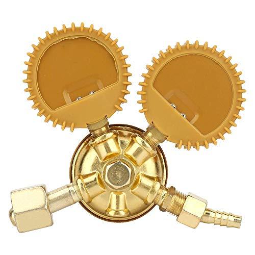 Zuurstof drukregelaar, 1Pc messing zuurstof regulator drukregelaar dubbele gauge 0-25Mpa lassen snijden,Brass