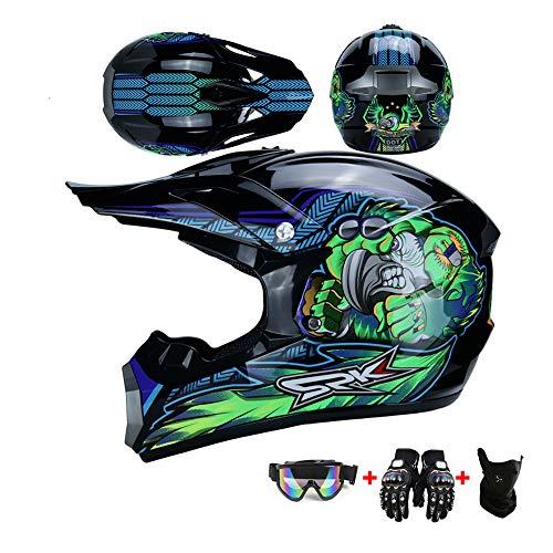 WRISCG Casco Motocross Niño Casco de Moto Infantil Cross Integral Enduro Infantil para Motos Motocross Cascos y Guantes y Gafas estándar para niños ATV Quad Bicicleta go Casco de Kart,Verde,XL