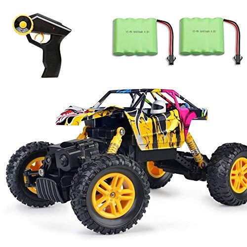 MaxTronic RC Cars, RC Auto 4WD Offroad Rock Crawler 2,4 GHz 1:18 Funk-Fernbedienung Fernsteuerung Fahrzeug Zwei Motoren Graffiti High Speed Racing Monster Truck Modell (Gelb)*