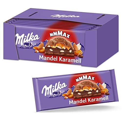 Milka Mandel Karamell 12 x 300g Großtafel, Zartschmelzende Milka Vollmilchschokolade mit Mandel-Kakaocrème-Füllung und Karamell