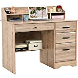 Computer Desk with Drawers, Executive Desk Home Office Desk Writing Table Wood Student Desk with File Drawer for Bedroom, Small Spaces, Farmhouse Grey Wash