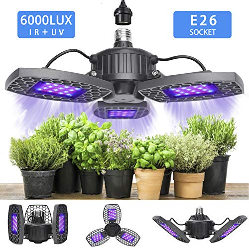 LED Grow Light for Indoor Plant, 600W Grow Lamp Full Spectrum Plant Light Foldable LED Grow Light Bulb 144pcs LEDs with Red Blue Spectrum for Hydroponic Veg, Flower Succulents Garden Growing