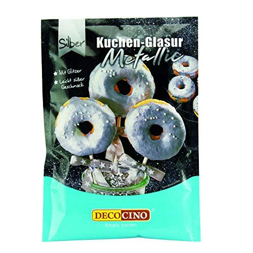 Decocino Metallic-Kuchenglasur Silber – fertige Kuchen-Glasur zum Anrühren für Torten, Cupcakes und Cake Pops – ohne Palmöl und laktosefrei 65 g
