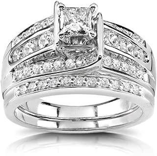 Kobelli Princess Diamond Wedding Ring Set 1 Carat (ctw) in 14K White or Yellow Gold