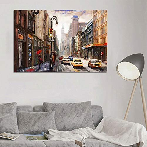 ganlanshu Rahmenlose Malerei Kunst Stadt Straße Landschaft Leinwanddrucke abstrakte Malerei Wohnzimmer Moderne DekorationZGQ5189 60X90cm