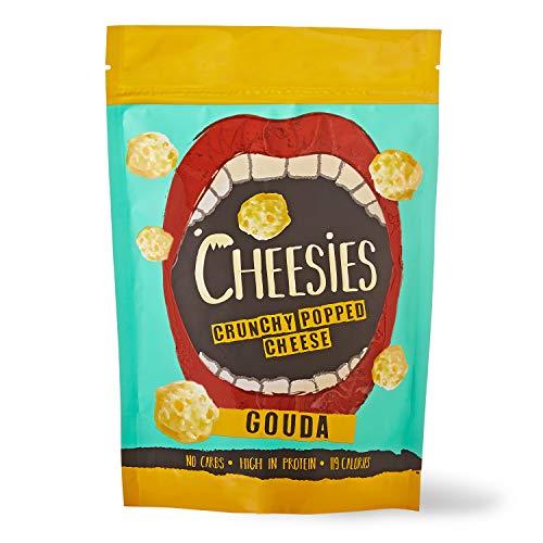 Palline Croccanti di Snack al Formaggio Cheesies, Gouda. Senza Carboidrati, ad Alto Contenuto di Proteine, Senza Glutine, Vegetariano, Keto. 9 Sacchetti da 60g.