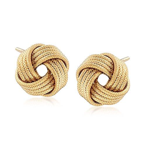 Ross-Simons Italian 18kt Gold Over Sterling Silver Textured Love Knot Stud Earrings