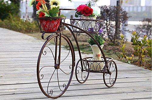 WEBO HOME- Ensemble de fleurs en fer à plusieurs étages, cadre de fleur, châssis, châssis, châssis, style européen, créatif, étagère, étagère, salon, pot de fleurs -Étagère ( Couleur : Bronze , taille : 60*44cm )