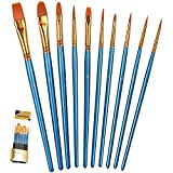 BOSOBO Paint Brush Set, 10pcs Round Pointed Tip Nylon Hair Artist Detail Paintbrushes, Pro...