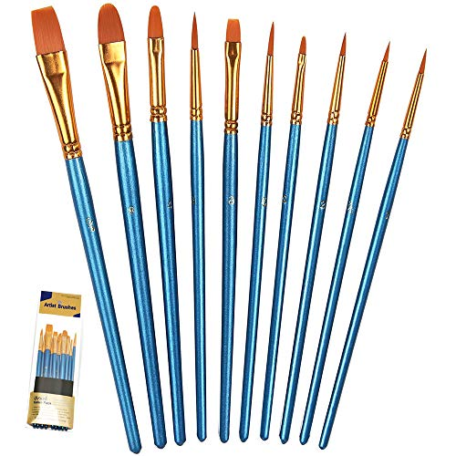 BOSOBO Paint Brush Set, 10pcs Round Pointed Tip Nylon Hair Artist Detail Paintbrushes, Professional Fine Acrylic Oil Watercolor Brushes for Face Nail Body Art Craft Model Miniature Painting, Blue