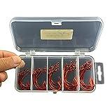 gossipboy 51pcs/1Set Rojo endurecimiento resistente gancho de Offset caja de acero de alto carbono deporte círculo Kit de Anzuelos de pesca para agua salada y agua dulce Pesca, tamaño 1–3/0#