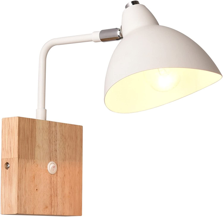 ventas de salida Firsthgus E27 luz de parojo La lámpara lámpara lámpara de cabecera del dormitorio de madera sólida leyó la cabeza móvil europea con la luz llevada interruptor de la parojo, blancoa  los últimos modelos
