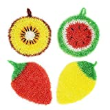 [New]Peachy At Home Cute Dish Scrubber| No-Odor Dish Sponge| Antibacterial Dish Cloths| Dry-Fast | Eco-Friendly Dish Scrubbers | Unique Design & Color Net Cloth Scrubber, (Fruit Mixed Set [4pack])
