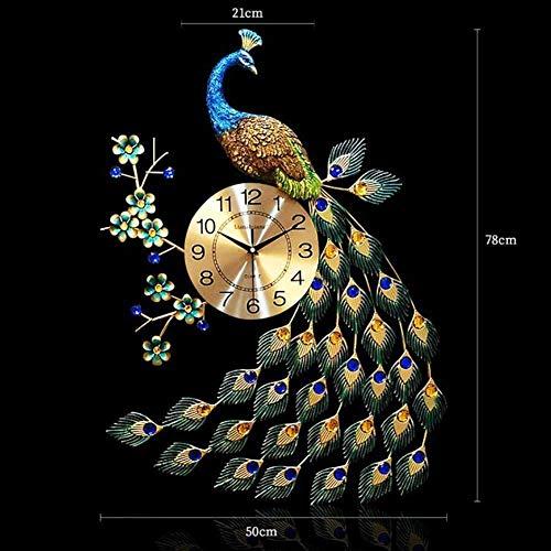 AISHANG Reloj de pared de pavo real, grande, de cuarzo, creativo, moderno, 3D, cristal de pavo, estilo europeo, para la vida, 21 x 78 cm