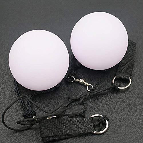 nhsunray LED Glow Poi Leuchtpoi Kugeln Nachtleuchtender Mehrfarbige Geworfen für Bühne Bauchtanz Hand Requisiten (Weiß) (2PCS)