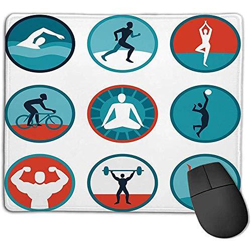 Fitness,Grafik kreisförmige Symbole mit Joggen Schwimmen Meditation Sport unter dem Motto Zeichen dekorativ,blaugrün rot weiß,für Laptop,Computer,PC,Tastatur,ich 30 X 25 cm