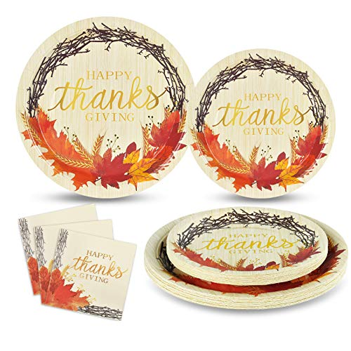 Happy Thanksgiving Paper Plates and Napkins Fall Leaves Disposable Dinnerware Set Serves 50 Includes 50 Paper Plates 50 Dessert Plates 50 Napkins