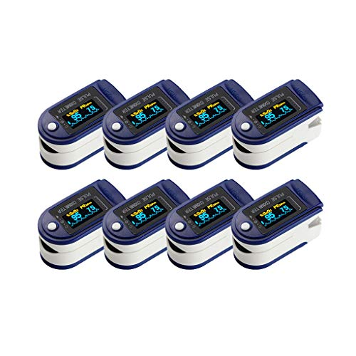 Pulsioxímetro de Dedo, saturación de oxígeno en Sangre, Monitor de SpO2 y PR 8S, medición rápida, medidor de frecuencia del Pulso para Viajes Deportivos en casa (8PC,A)