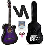 Intern INT-38C Acoustic Guitar Kit, With Bag, Strings, Pick And Strap, Purple