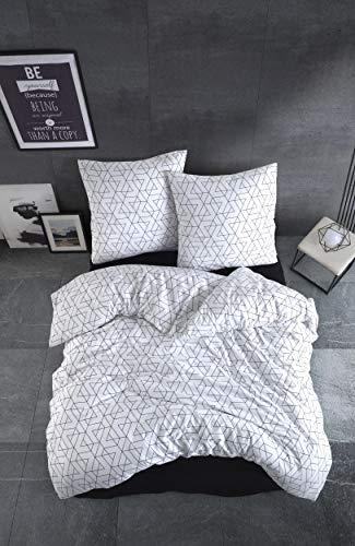 Bettwäsche 200x220 cm. 3 teilig Set, weiß, 100% Baumwolle/Renforcé mit Reißverschluss atmungsaktiver bettbezug schwarz geometrische Muster mit Kissenbezug 80x80 cm. Monza V2