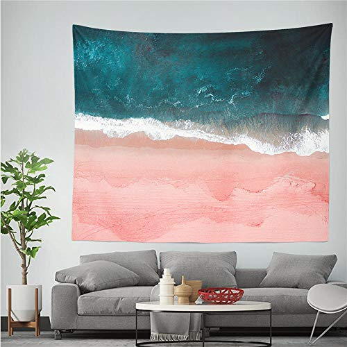 YIBINGLI Wandteppich Pink Beach Ocean Tapisserie Wellen Muster Printe Polyestry Wandtuch Wandteppiche Teppich werfen Decke Home Decoration Yoga Mat 150x200cm